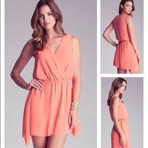 NWT Bebe Coral Surplice Woven Dress
